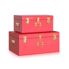 Home Decorative Storage Steel Metal Trunk Box with Matte Gold Handles