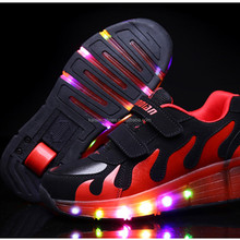 2016 fashion kids led light up children hot sale shoes for season sneakers roller skates shoes