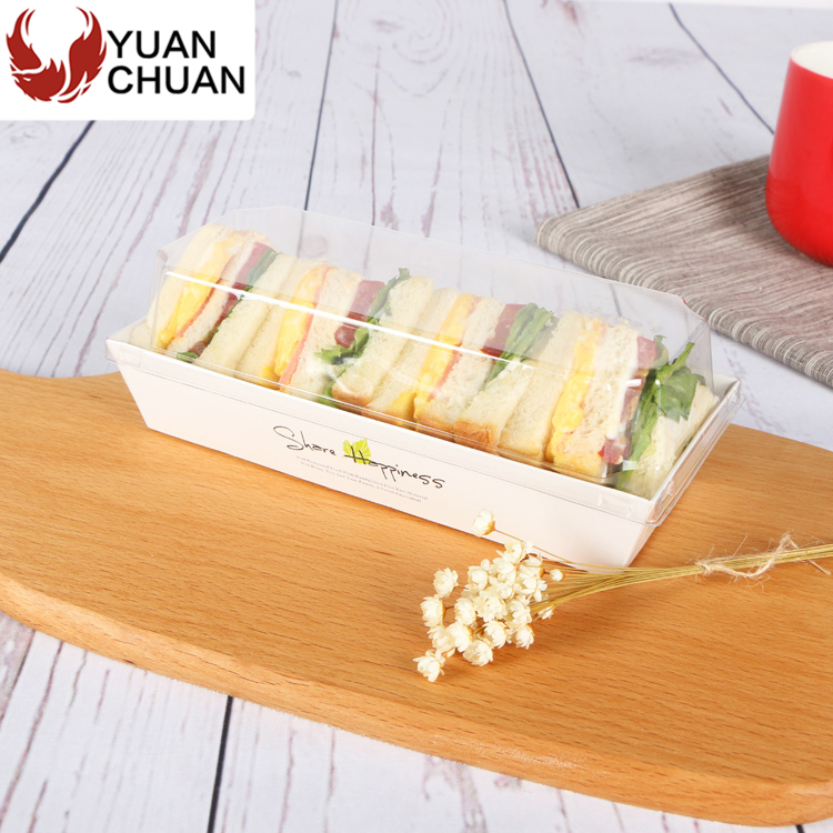 Wooden cardboard paper sandwich tray with plastic lid