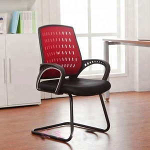 C01D# Good quality simple design sled base black mesh office visitor chair without wheels