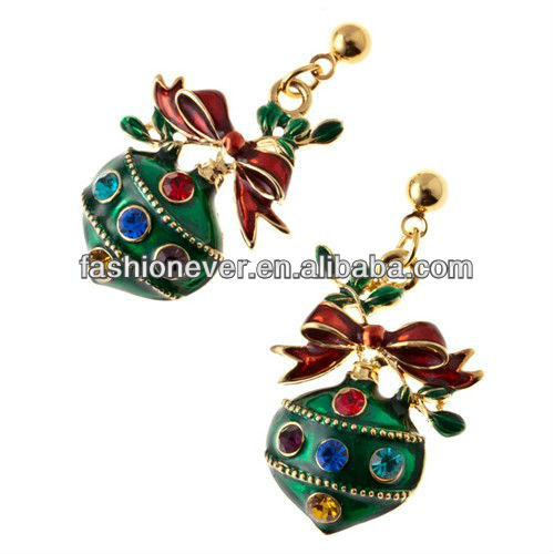 Christmas Jewelry Green Ornament Ribbon Crystal Charm Earrings