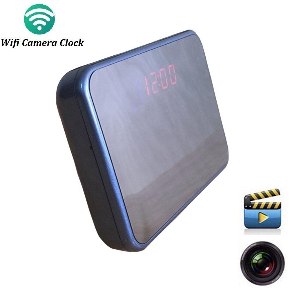 Wifi Hidden Camera Alarm Clock Wireless Spy Cameras Motion Detection Alarm ,Audio Video Recorder ,[ Micro SD Card 8GB ] Blue