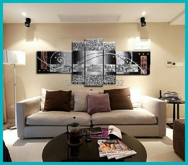 framed 5 panel large canvas art cheap heavy textured painting abstract wall pictures for living. Black Bedroom Furniture Sets. Home Design Ideas