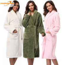 Dames Polyester Coral Fleece Douche Badjassen in Voorraad