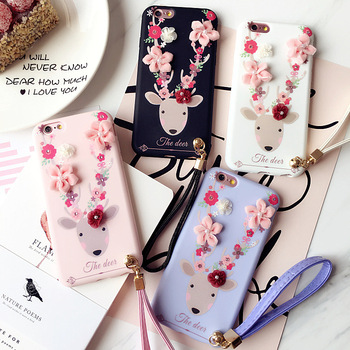 christmas soft flower deer silicone case for iphone 77 plus with shoulder strap