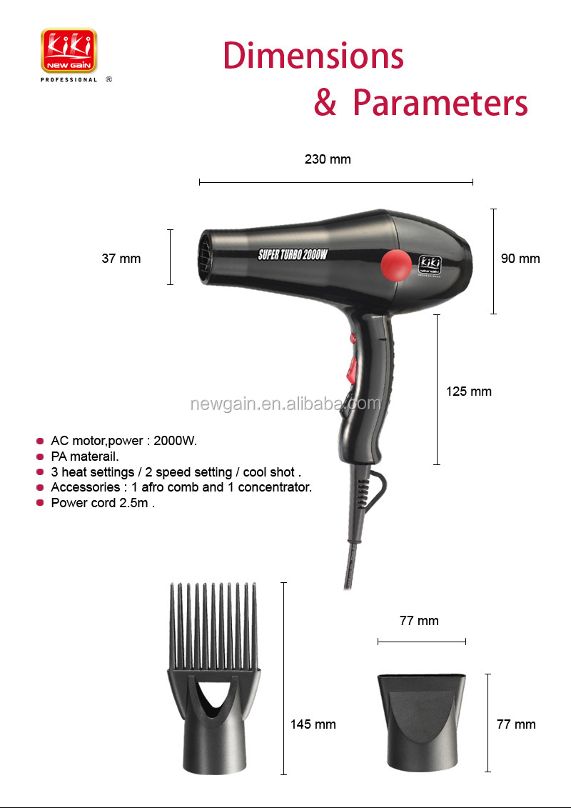 2000w ac motor professional hair dryer with concentrator for Ac motor blow dryer