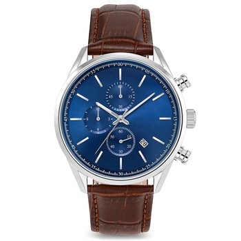 Custom Logo Men's Fashion Business Quartz Watch with Blue Leather Strap Chronograph Waterproof Watch