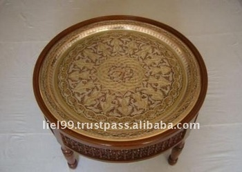Serving For Coffee And Tea Moroccan Brass Tray Table