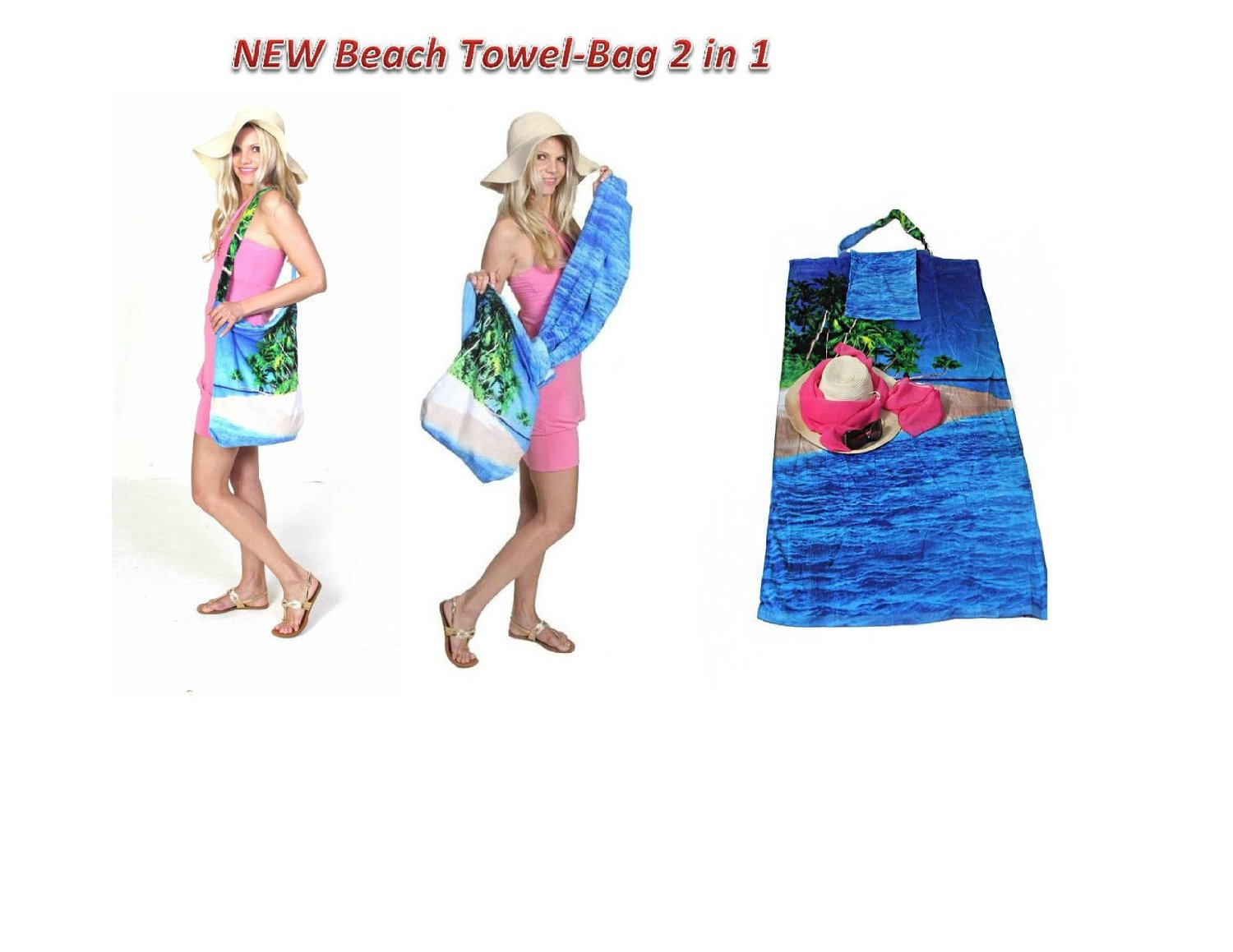 2 in 1 Beach Towel Bag,Beach Blanket, Tote Bag, Yoga Towel, Pool towel