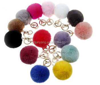 christmas decorations balls fur key chain rabbit fur pom pom accessories - Christmas Chain Decorations