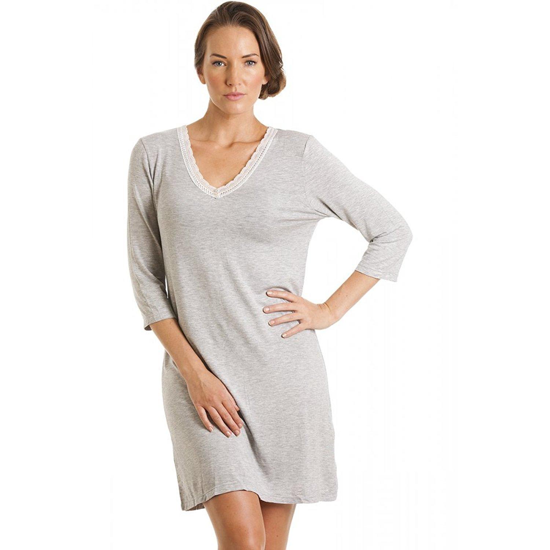 2ba2aa79ecd7 Get Quotations · Camille Womens Ladies Luxury Grey Knee Length Nightdress  6-16