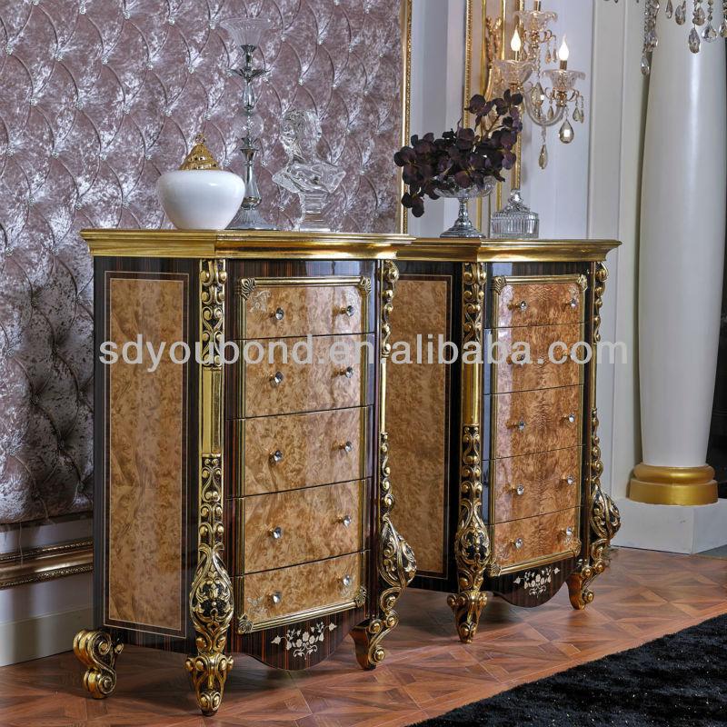 ذهبية 0061 الأوروبي أثاث غرف النوم الخشبية الكلاسيكية