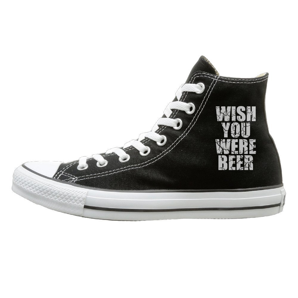 NFCGH Wish You Were Beer Canvas Shoes Sneakers Slip On Shoes Black