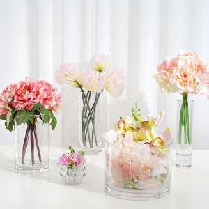 VR150-200 tall wedding modern small round glass flower vase decoration mariage