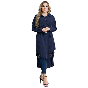 tunic tops muslim lady long sleeve cotton blouse