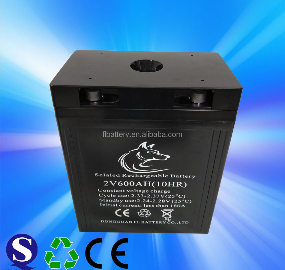 2V 600Ah Rechargeable Free-maintained GEL Lead Acid Battery for Solar Power Storage or UPS/Standby Power