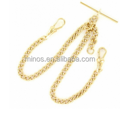 Gold Plated 14 Inch Double Heavy T-Bar Pocket Watch Chain from China