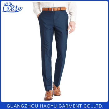 2017 Formal Business Straight Coat Pants Men Blue Suit Trousers For Office