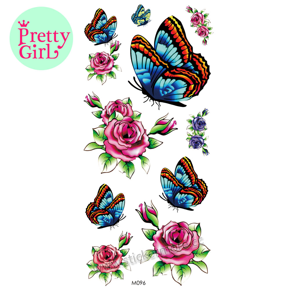 New Fashion Skull Tattoo arm Temporary skull tattoo stickers butterfly flower art for body M096