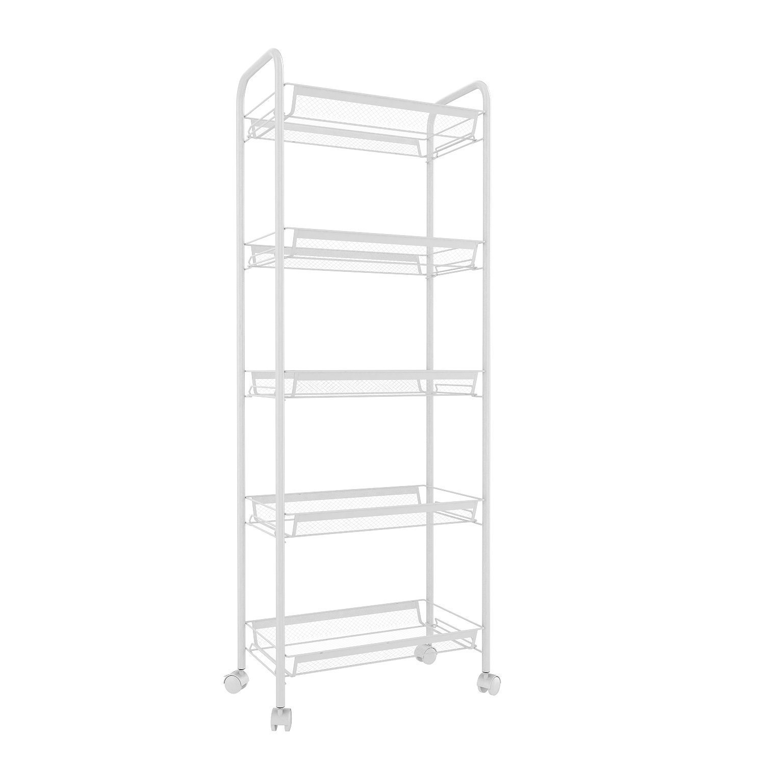Leoneva Deluxe Heavy Duty Multi-Purpose 3/4/5-Tier Wire Mesh Rolling Cart for Home/Kitchen/Bathroom, Serving Moving Storage Utility Organization Rack with Metal Handle and Wheels (5-Tier, White)