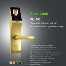 Face Recognition Intelligent Camera Door Lock, European standard mortise with 5 latches