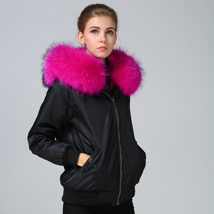 Faux fur lined with raccoon fur trim hot sale bomber jacket women