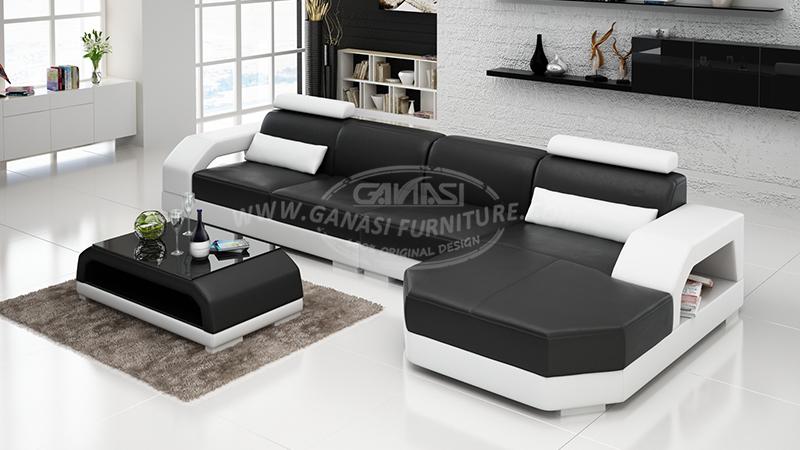 Ganasi Furniture Leather Sofa Set Contemporary Sofa Sets Design