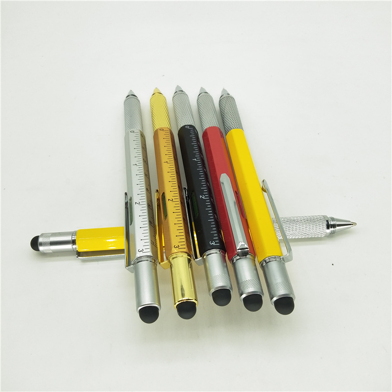 Factory Direct 6 In 1 Multifunctionele Tool metalen Balpen Schroevendraaier Heerser Niveau Touch Stylus Balpen