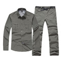 Men s Outdoor Quick Dry Shirt Pants Suit Removable Hiking Camping Fishing Clothes