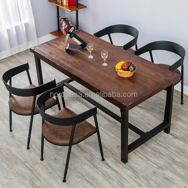 Vintage industrielle fer table manger en bois pour for Table a manger industrielle