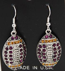 LSU Tigers or NFL Minnesota Vikings or Baltimore Ravens Purple & Gold Rhinestone Football Earrings 1 1/2 inches long & 1 inch wide - Celebrate Minnesota Vikings Football or Louisiana State University Football with Rhinestone Football Jewelry in their Team Colors!!!