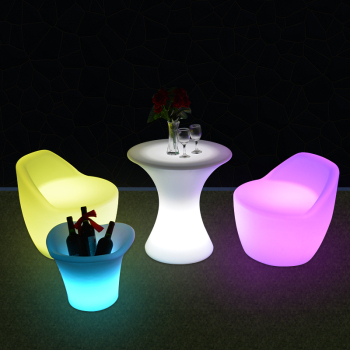 Plastic Round Touch Color Changing RGB LED Coffee Table And Sofa