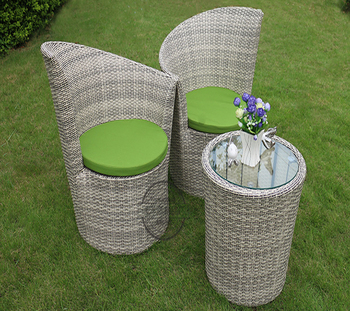 Garden General Used Outdoor Rattan Furniture Round Table With 2 Chairs
