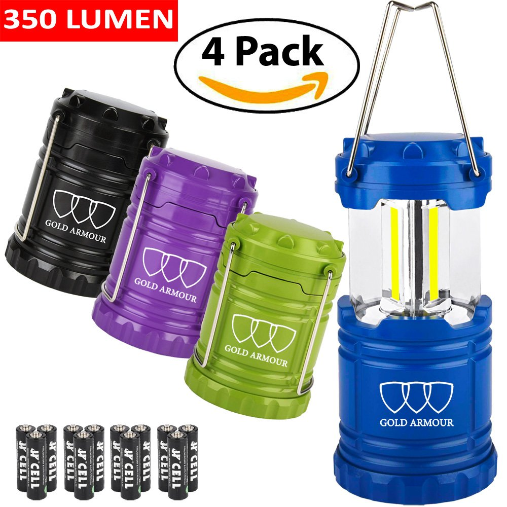 Brightest LED Lantern - Camping Lantern (EMITS 350 LUMENS!) - Camping Gear Equipment for Hiking, Emergencies, Hurricanes, Outages, Storms (Multicolor, 4 Pack)