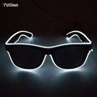 EL Wire Flashing Glasses DIY Glowing Product Neon glow light Glasses with dark lens for Night dance Party Decoration