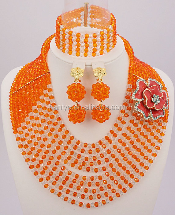 African 2016/SY102 Nigerian Wedding African Beads Jewelry Sets orange African Bridal Crystal Beads Jewelry Sets