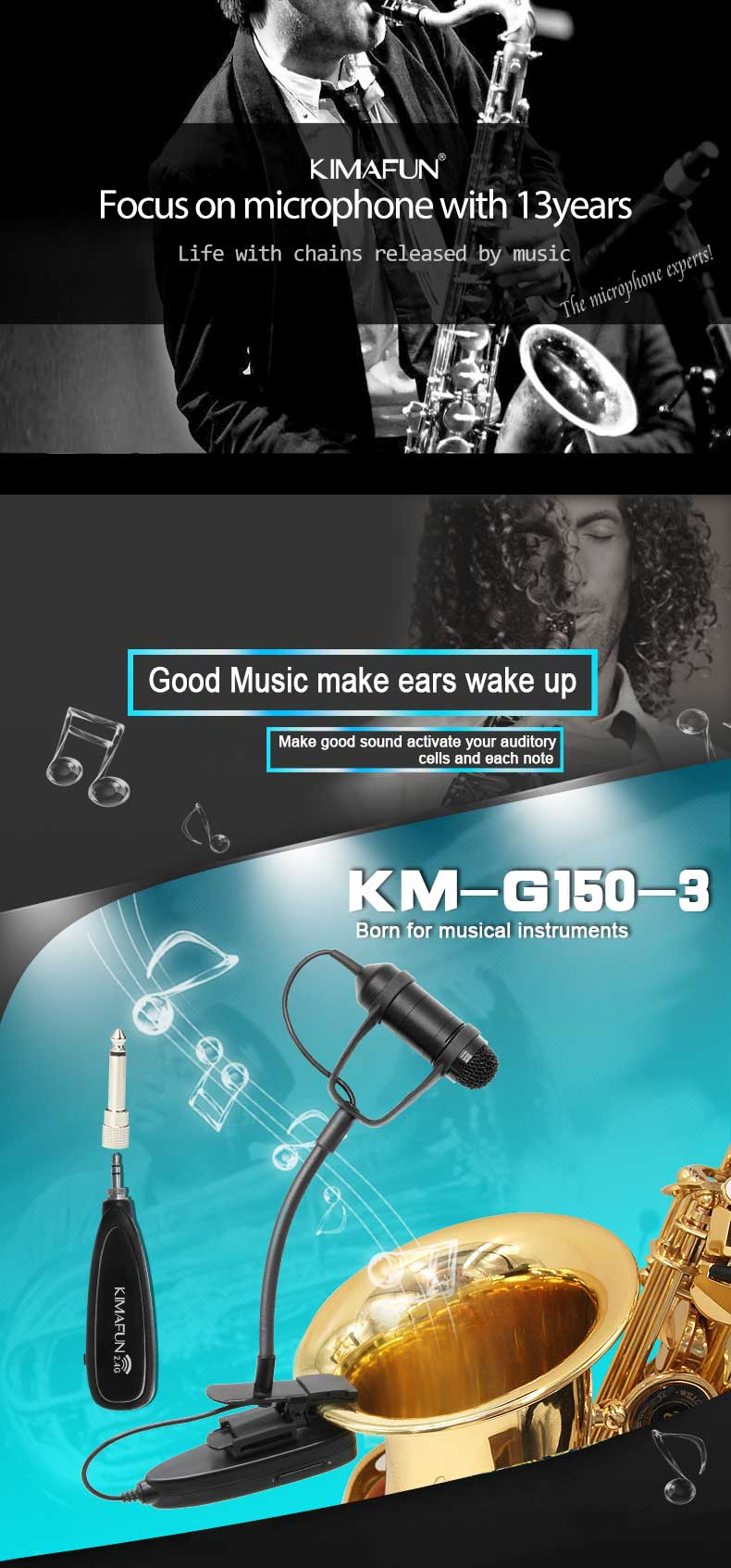 Wireless hot -sale popular  Microphone stand KM-G150-3 microphone for music saxophone