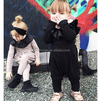 3f693e8e8860 European Fashion Baby Girl Romper Newborn Baby Spring Autumn Ruffle Collar  Black Bodysuit Playsuit Pants