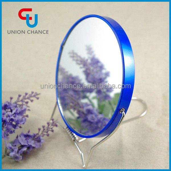 Small Round Standing Metal Compact Table Mirror