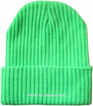Wholesale stock unisex adult acrylic knitted beanies blank neon yellow  green orange soft elastic knit fold e63068669aa