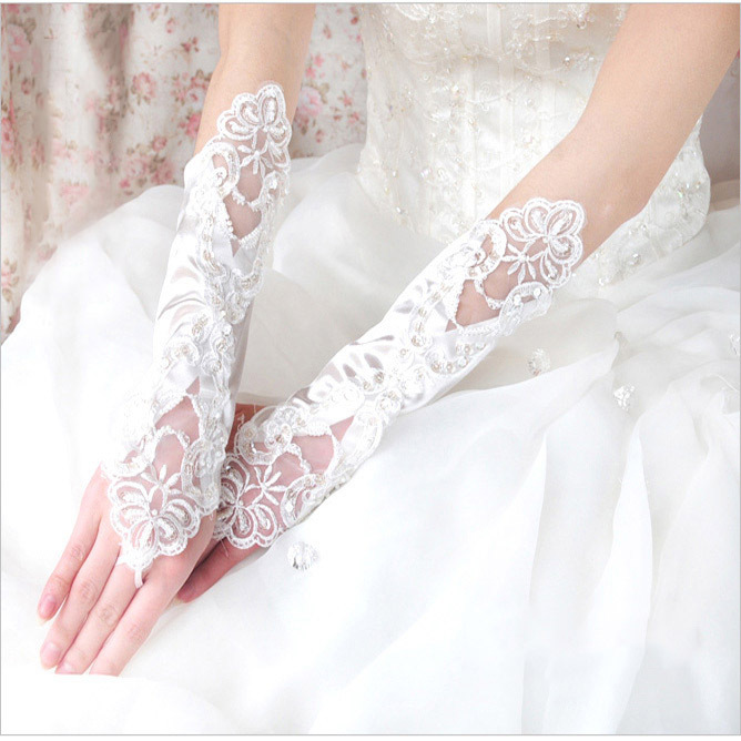 C72327A Women Fashion Fingerless Long Lace Wedding Gloves