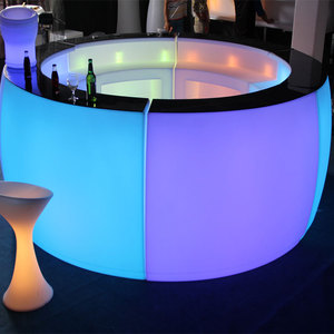 party rental led plastic bar counter/portable PE plastic furniture led lighted bar counter table