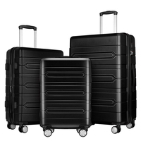 3PCS Black Color Spinner Wheel Trolley Luggage For Traveling