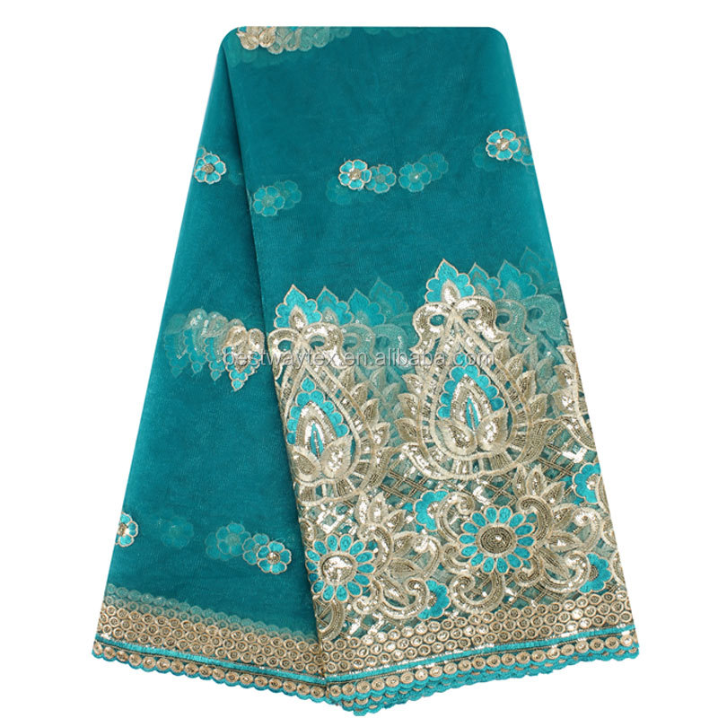 Indian Bridal Dress Materials Wholesale Blue Wedding Embroidery Lace Fabric