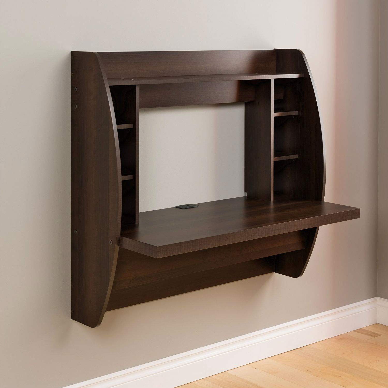 Trustpurchase Wall Mount Space Saving Modern Laptop Computer Desk in Espresso, Innovative and Stylish Wall Mounted Desk, Perfectly Suited for Any Home Office, Den, Living Room, Kitchen or Entryway