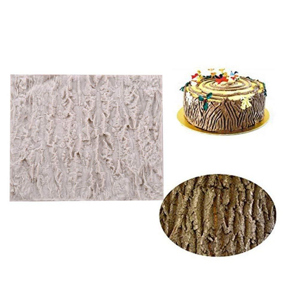 Dolland Fondant Impression Mat, Tree Bark texture Design Silicone Cake Decorating Supplies for Cupcake Wedding Cake Decoration