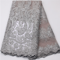 Best Selling Nigeria Lace Fabric With Beads/Pearls, Fashion French Bridal Lace Trim, African Dresses Tulle Fabric For Wedding