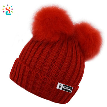 5011c488832 Wholesale custom beanie women chunky knitting ribbed cuff hat with two pom  balls