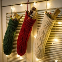2018 Funny Christmas Decorations New Cable Knit Larger Size Present Storage Bag Santa Stocking Christmas Sock