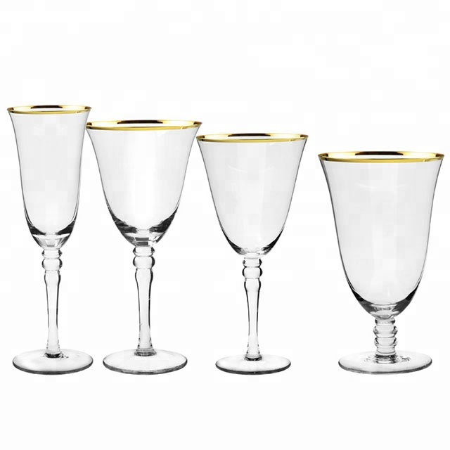 Gold rimmed wedding decorated glassware set / goblet wine <strong>glass</strong>